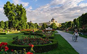Fotos Österreich Wien Parks Rasen Strauch Design Bäume Straßenlaterne BlumenPark