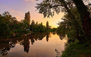 Hintergrundbilder Österreich Wien Parks Morgendämmerung und Sonnenuntergang Fluss Bäume Wasserpark Floridsdorf