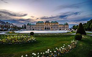 Hintergrundbilder Österreich Wien Teich Abend Landschaftsbau Palast Rasen Belvedere Städte