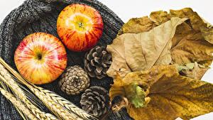 Hintergrundbilder Herbst Äpfel Blatt Zapfen Ähre Lebensmittel