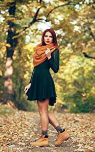 Bilder Herbst Kleid Schal Mädchens