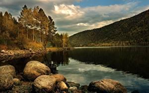 Fotos Herbst See Steine Gebirge Wald Landschaftsfotografie
