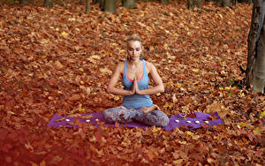 Image Autumn Padmasana Blonde girl Sitting Yoga Girls