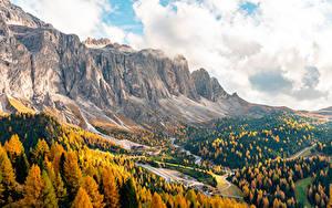 Hintergrundbilder Herbst Gebirge Italien Wälder Passo Gardena, South Tyrol, Dolomite Alps