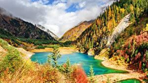 Desktop hintergrundbilder Herbst Berg See China Park Jiuzhaigou park Landschaftsfotografie Sichuan province Natur