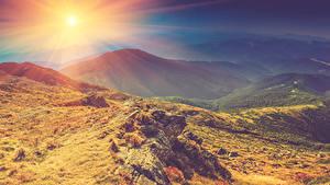 Hintergrundbilder Herbst Sonnenaufgänge und Sonnenuntergänge Gebirge Steine Landschaftsfotografie Sonne