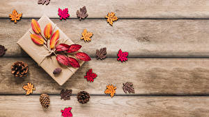 Fotos Herbst Bretter Geschenke Blattwerk Zapfen Vorlage Grußkarte Natur