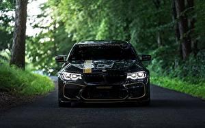 Bureaubladachtergronden BMW Vooraanzicht Zwart kleur 2018 Biturbo Manhart M5 V8 F90 MH5 700 auto's