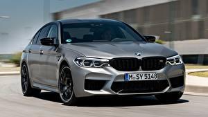 Bureaubladachtergronden BMW Vooraanzicht Grijze 2018 M5 V8 F90 M5 Competition Auto