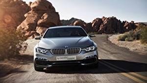 Bureaubladachtergronden BMW Vooraanzicht Beweging Coupé Zilveren kleur 4 Series Concept Auto