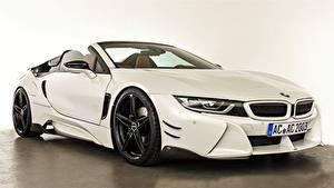 Hintergrundbilder BMW Weiß Roadster AC Schnitzer i8 2019