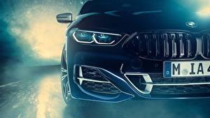 Bureaubladachtergronden BMW Vooraanzicht Koplampen Coupé Individual 8-Series 2019 M850i XDrive Night Sky Edition auto's