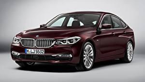 Hintergrundbilder BMW Dunkelrote Grauer Hintergrund Liftback, 630d, xDrive, Gran Turismo, Luxury Line, 2017 Autos