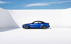 Hintergrundbilder BMW Blau Metallisch Seitlich Cabrio M4 Competition M xDrive Cabrio, (Worldwide), (G83), 2021 auto