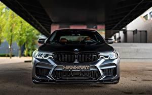 Bureaubladachtergronden BMW Vooraanzicht Zwart kleur Manhart M5 V8 F90 2019 4.4 MH5 800 815 Auto