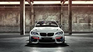 Bureaubladachtergronden BMW Vooraanzicht Wit Racing Cup M235i AC Schnitzer M2 auto's