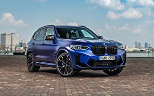 Hintergrundbilder BMW Softroader Blau Metallisch X3 M Competition, (Worldwide), (F97), 2021 Autos