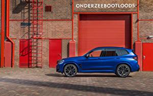 Desktop hintergrundbilder BMW Blau Softroader Metallisch Seitlich X3 M Competition, (Worldwide), (F97), 2021 auto