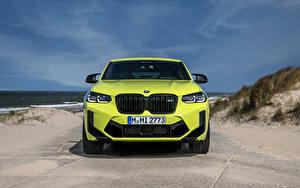 Bureaubladachtergronden BMW Vooraanzicht Geel groen Metallic Cross-over auto X4 M Competition, (Worldwide), (F98), 2021 auto's