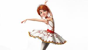 Bilder Weißer hintergrund Ballett Kleid Posiert Rotschopf Balerina (Felis) Zeichentrickfilm 3D-Grafik Mädchens
