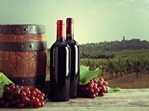 Fondos de Pantalla Barril Vino Uvas Botellas