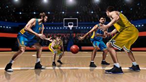 Photo Basketball Men Uniform Ball Sport