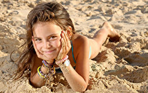 Picture Beaches Little girls Staring Smile Hands Sand Brown haired Children