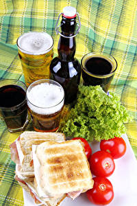 Bilder Bier Sandwich Tomate Flasche Trinkglas Lebensmittel