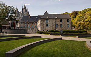 Hintergrundbilder Belgien Burg Bäume Rasen Durbuy Städte