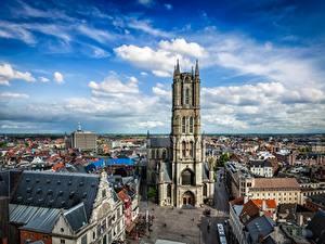 Fotos Belgien Gent Haus Kathedrale Himmel Straße Türme Wolke St Bavo's Cathedral