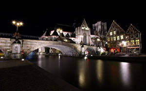 Bilder Belgien Gent Fluss Brücke Gebäude Nacht Straßenlaterne St Michael's Bridge