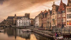 Fotos Belgien Haus Seebrücke Abend Kanal Straße Gent