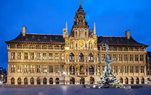 Fotos Belgien Gebäude Denkmal Abend Platz Antwerpen