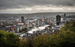 Hintergrundbilder Belgien Haus Fluss Brücken Bäume Von oben  Städte