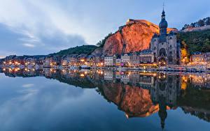 デスクトップの壁紙、、ベルギー、川、建物、夕、海岸、倒影、Dinant, River Meuse、都市