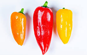 Wallpapers Bell pepper Closeup White background Three 3 Food