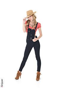 Pictures Belle Claire iStripper White background Blonde girl Hat Hands Legs Stilettos Pose female