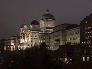 Bilder Bern Schweiz Nacht Palast Federal Palace