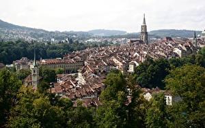 Fotos Bern Schweiz Gebäude Bäume Von oben Städte