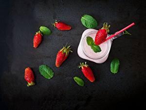 Fotos Beere Erdbeeren Joghurt Tisch Blatt das Essen