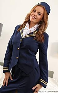 Fotos Bethany M Only Flugbegleiter Uniform Braune Haare Lächeln