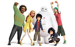 Bilder Roboter Weißer hintergrund Big Hero 6 Zeichentrickfilm