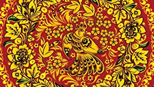 Bilder Vogel Textur Russische Khokhloma Blüte