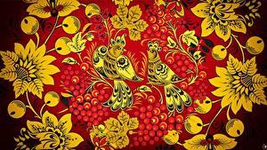 Fotos Vögel Textur Russischer Khokhloma
