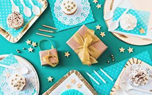 Papéis de parede Aniversário Cupcake Presentes Laço comida