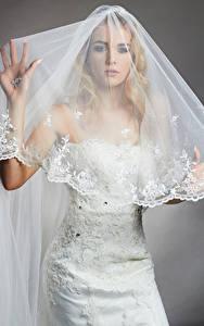 Hintergrundbilder Blond Mädchen Brautpaar Kleid