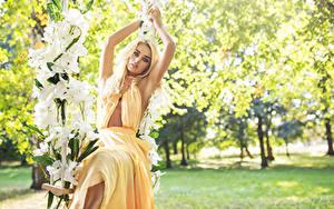 Hintergrundbilder Blondine Kleid Starren Sitzend Schaukel Mädchens