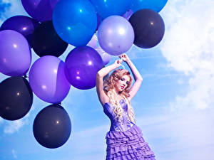 Image Blonde girl Dress Balloons