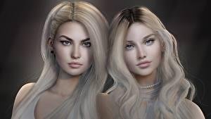 Hintergrundbilder Blondine Haar Starren Schön Zwei Gesicht junge frau 3D-Grafik