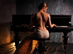 Fonds d'écran Blondeur Fille Piano Les robes Dos Tatouage S'asseyant
